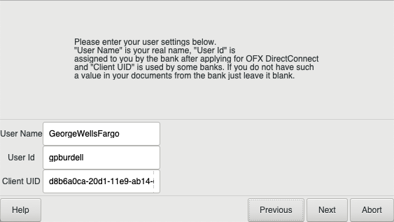 Setting up OFXDirectConnect - GnuCash